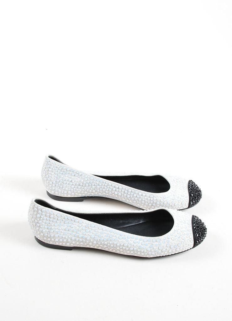 Giuseppe Zanotti Light Grey and Black Suede Bejeweled Cap Toe Flats Sideview