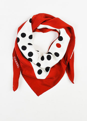 Cream, Red and Black Chanel Polka Dot Square Scarf Front