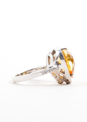 18K White Gold Citrine Diamond Embellished Heart Shaped Ring Sideview