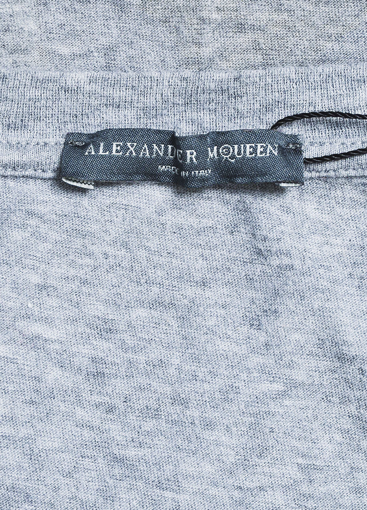 Alexander McQueen Heather Grey Cotton Skull and Bow Graphic T-Shirt Brand