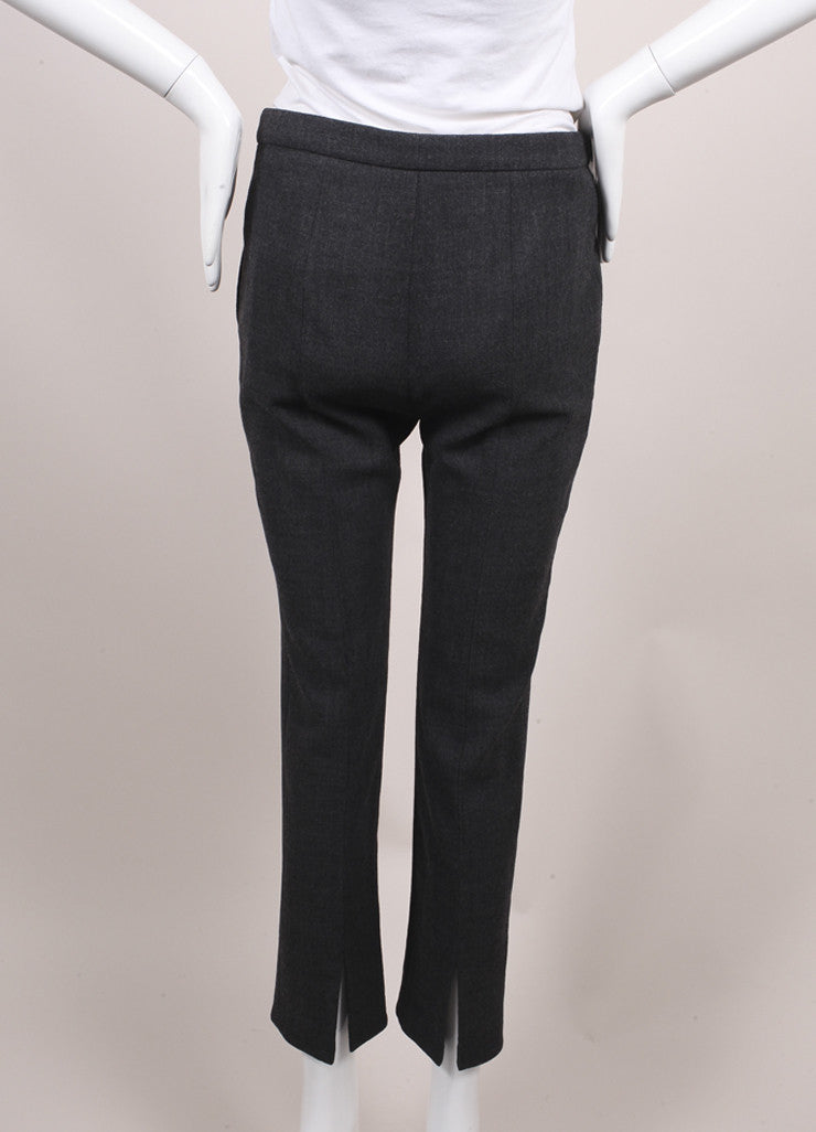 Alexander McQueen New With Tags Dark Grey Melange Crepe Wool Ankle Trousers Backview