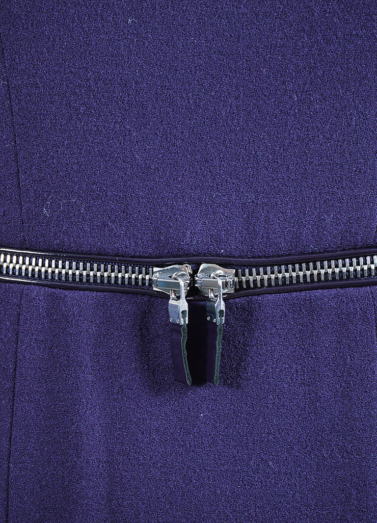 Purple Alexander McQueen Wool Zipper Cap Sleeve Dress Detail
