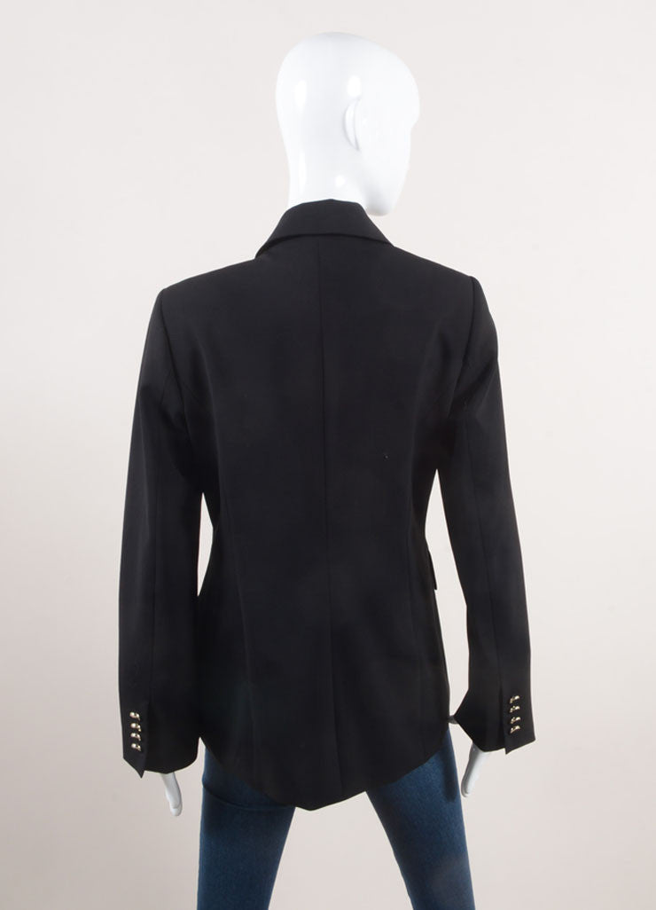 Algo New With Tags Black and Silver Toned Stretch Wool Double Breasted Blazer Backview