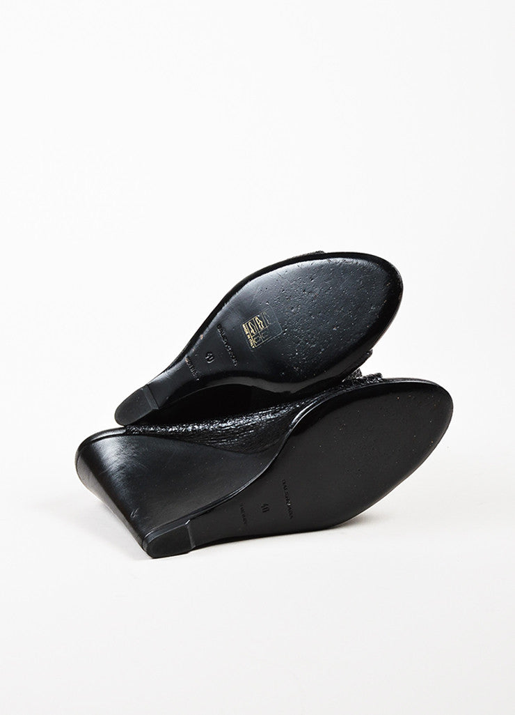 Balenciaga Black Crinkled Patent Leather Open Toe Wedges outsoles