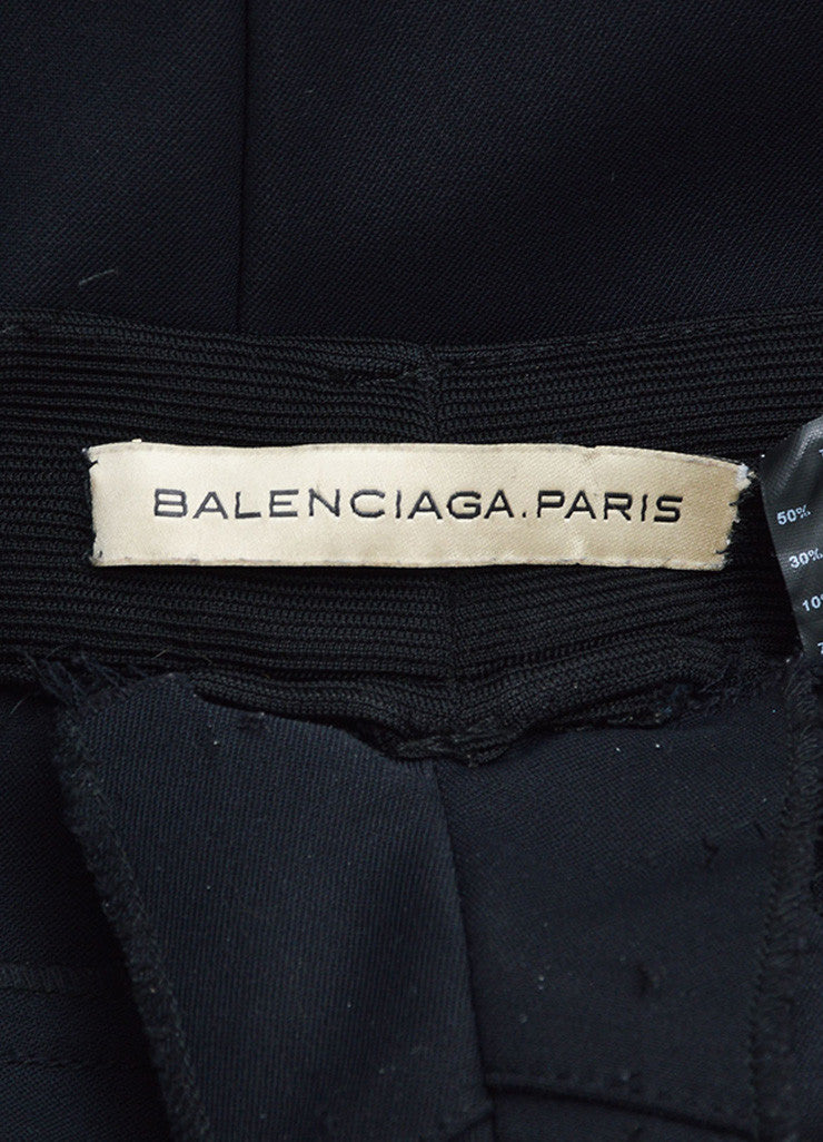 Balenciaga Black Wool and Cotton Stretch Knit Zipper Leg Skinny Pants Brand