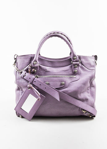 "Balenciaga Lilac Purple Leather ""Giant 12 Velo"" Crossbody Bag Frontview 2"