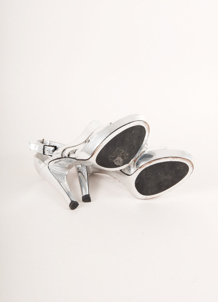 Barbara Bui Silver Metallic Strappy Leather High Heel Sandals Outsoles