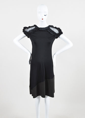 Bottega Veneta Black Silky Ruffle Mesh Chain Mail Leather Short Sleeve Dress Frontview