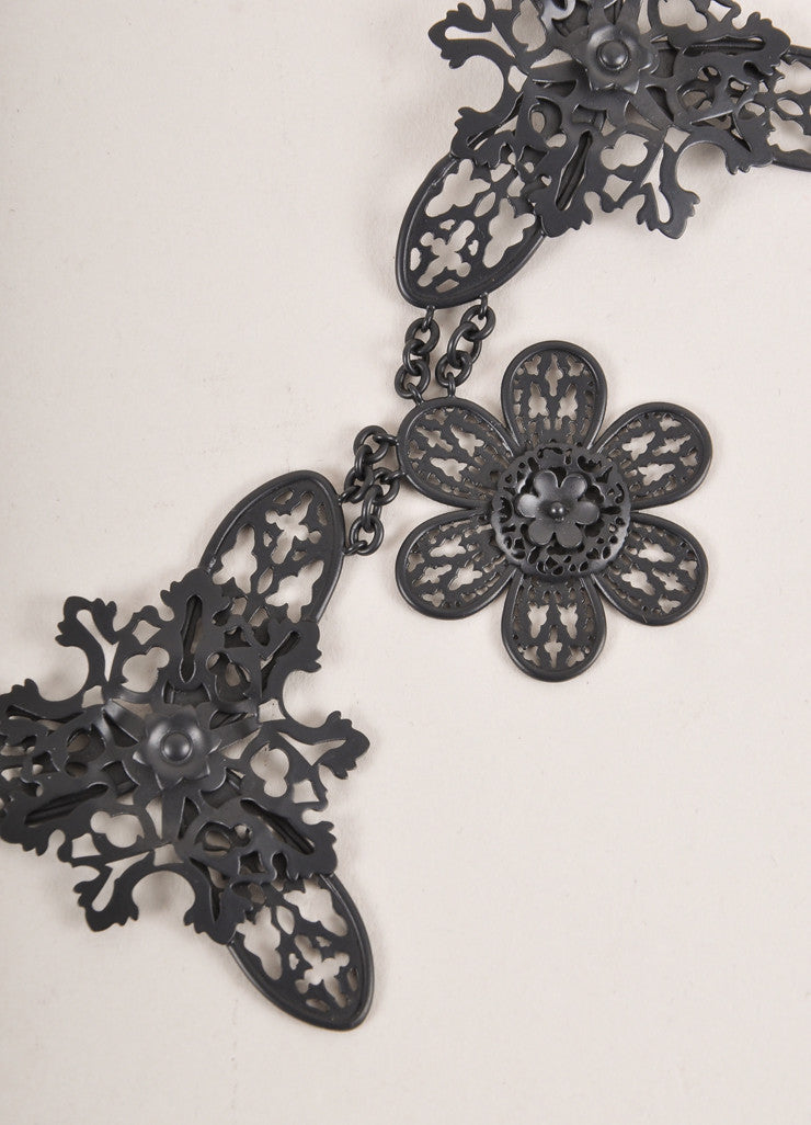 Bottega Veneta Black Matte Metal Filigree Statement Necklace Detail