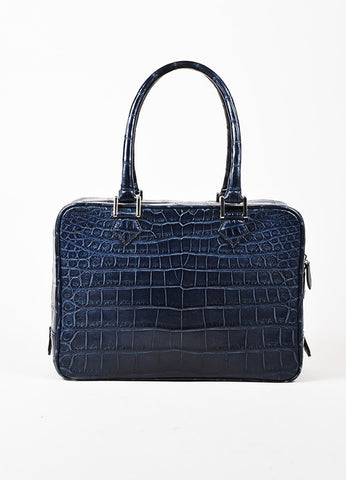 Brioni Navy Crocodile Leather Top Handle Structured Briefcase Bag Frontview