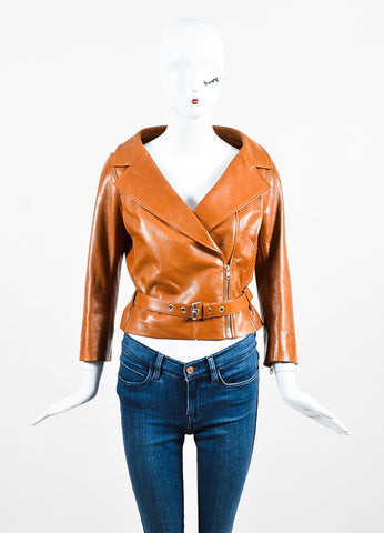 Celine Brown Pebbled Lamb Leather Silver Toned Belted Biker Jacket Frontview