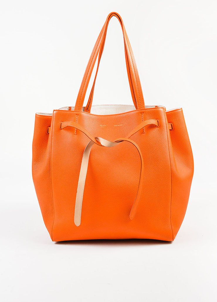 "Celine Orange Pebbled Leather Small ""Phantom Cabas"" Tie Tote Bag Frontview"
