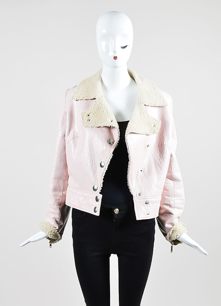 Pink Celine Coated Crackle Leather Shearling Moto Jacket Frontview