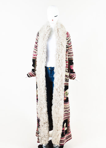Chanel Multicolor Wool Mohair Cashmere Lamb Trim Long Sweater Coat Frontview