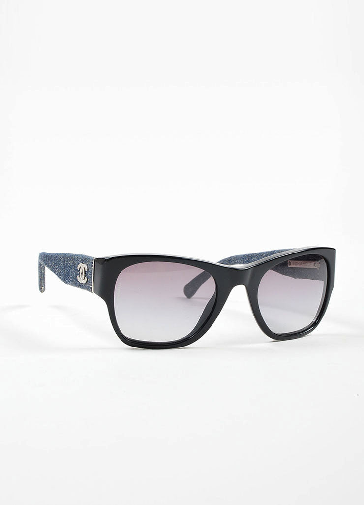 Black and Denim Chanel Silver Toned 'CC' Wayfarer Sunglasses Sideview