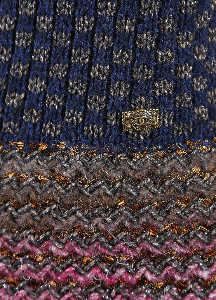 Chanel Multicolor Cotton, Wool, and Silk Metallic Knit Sweater Dress Detail