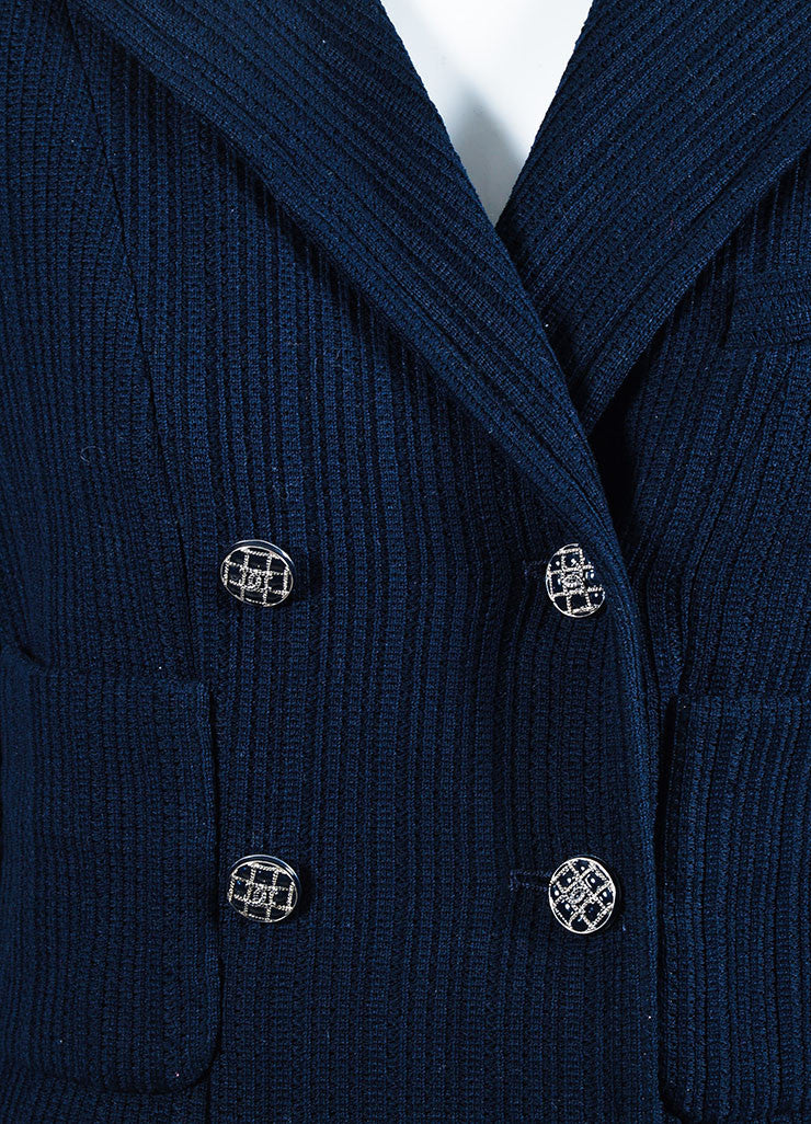 Chanel Navy Ribbed Peak Lapel Three Quarter Sleeve Double Breasted Blazer Detail