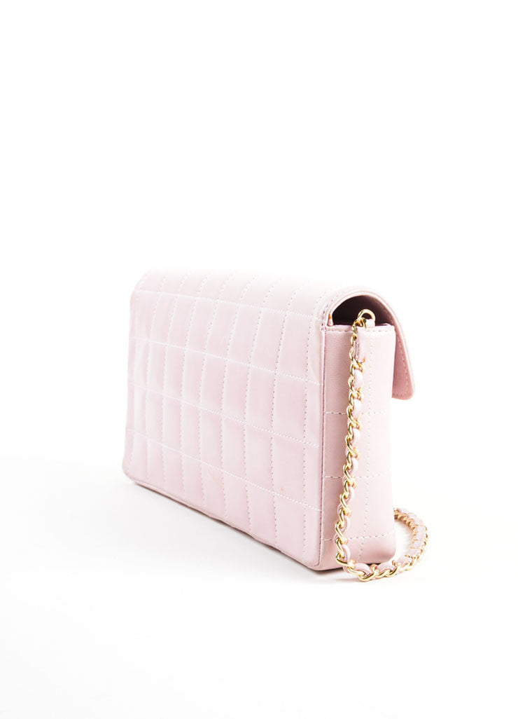 "Chanel Pink Square Quilted Leather ""Chocolate Bar"" Shoulder Flap Bag Sideview"