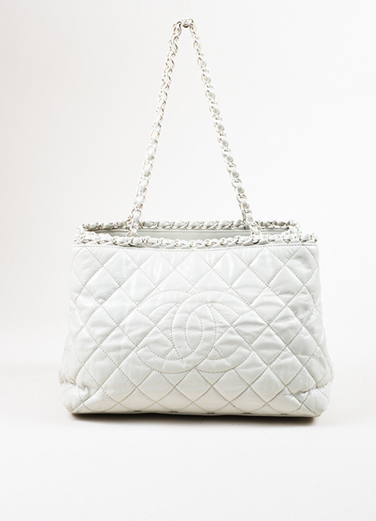 "Chanel White Quilted Leather CC Logo ""Me"" Short Handle Chain Tote Bag Frontview"