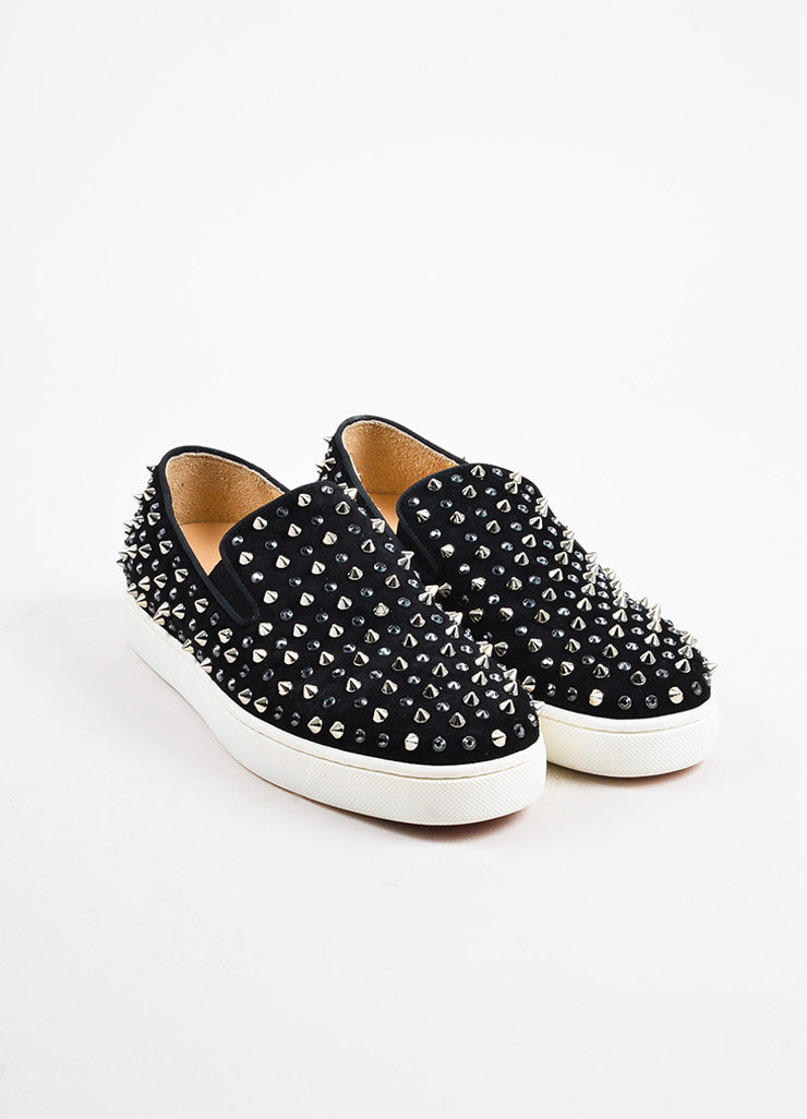 "Christian Louboutin Black Suede Spike ""Roller"" Slip On Sneakers Frontview"