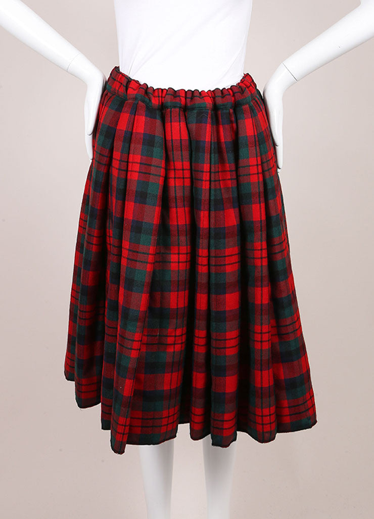 Comme des Garcons Red, Green, and Multicolor Wool Plaid Padded Full Skirt Frontview