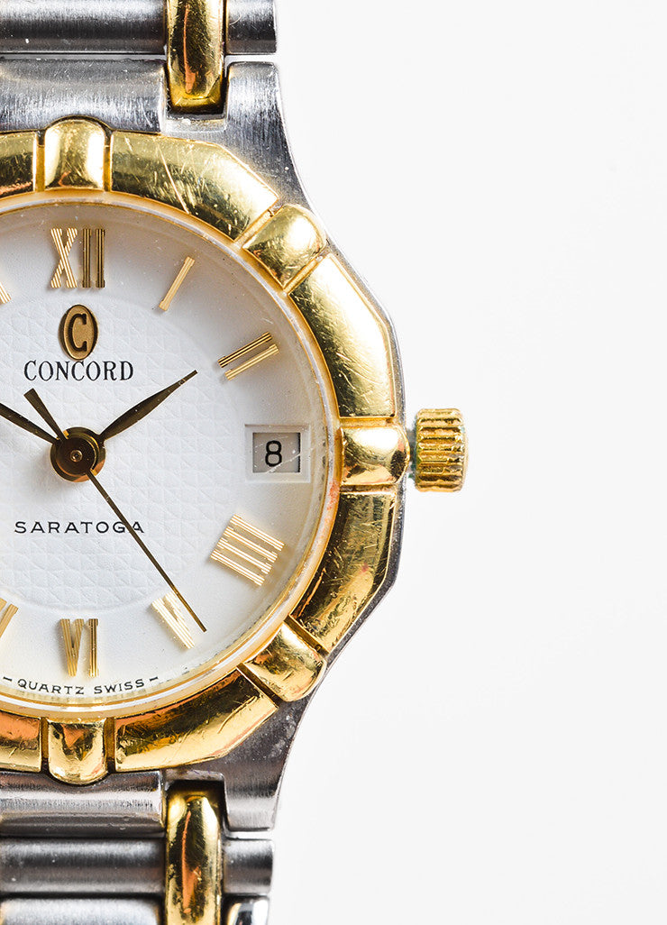 "Concord Stainless Steel and 18K Yellow Gold ""Saratoga"" Two Tone Bracelet Watch Detail"