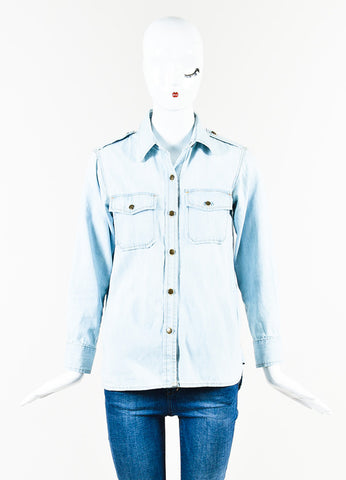 Current/Elliott Light Blue Wash Denim Button Down Long Sleeve Jean Shirt Frontview