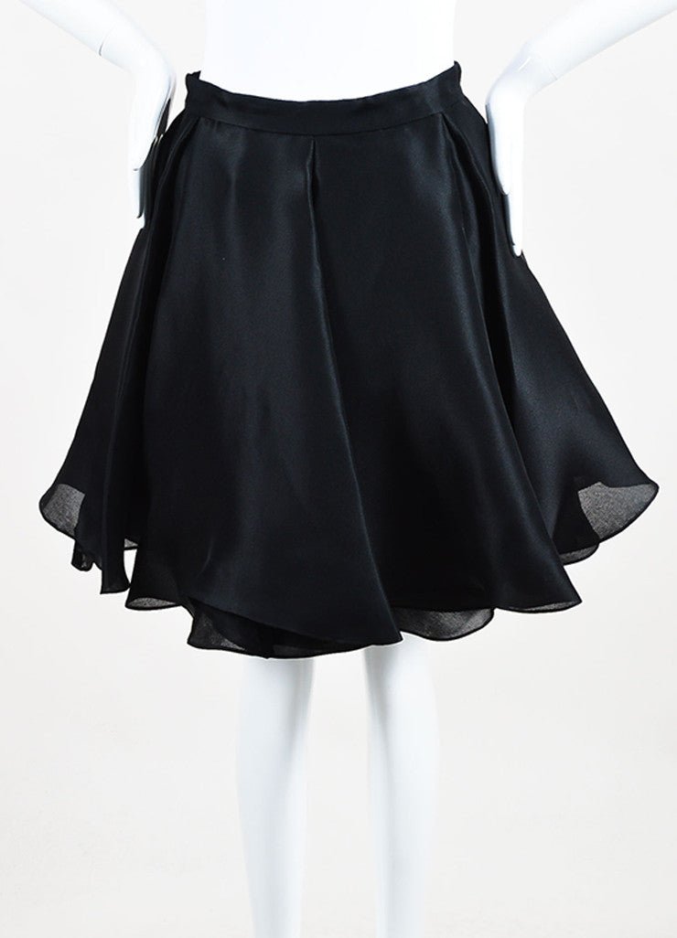 Cushnie Et Ochs Black Silk Layered Pleated Flare Skirt Frontview