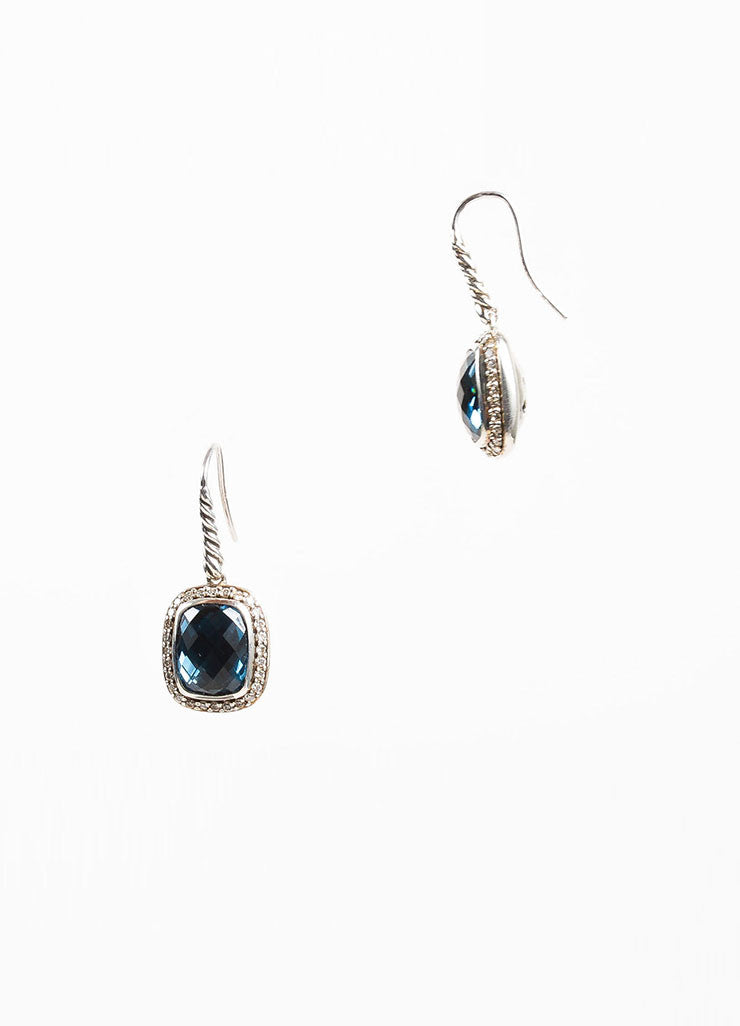 "David Yurman Blue Topaz, Sterling Silver, and Diamond ""Noblesse"" Drop Earrings Sideview"