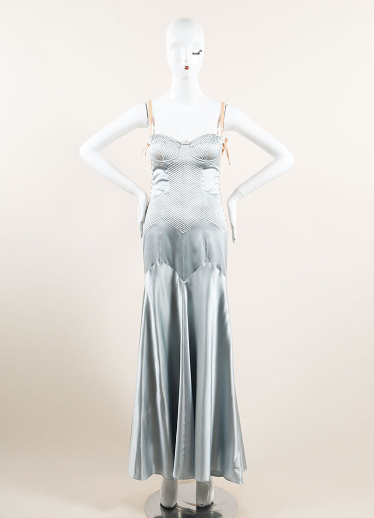 Dolce & Gabbana Light Blue Satin Paneled Lace Up Corset Gown Frontview