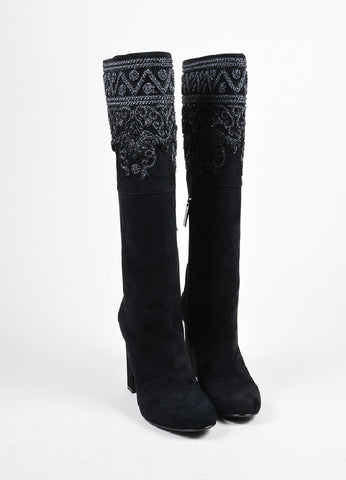 Black Etro Suede Embroidered Knee High Block Heel Boots Frontview