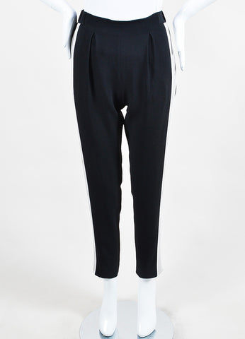 "Fendi Black, Grey, and White Striped Tapered ""Sable"" Jogging Pants Frontview"