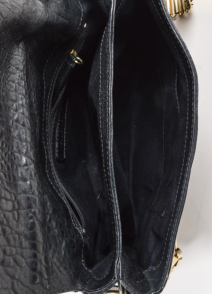 Givenchy Black Leather Gold Toned Multi Chain Strap Shoulder Bag interior