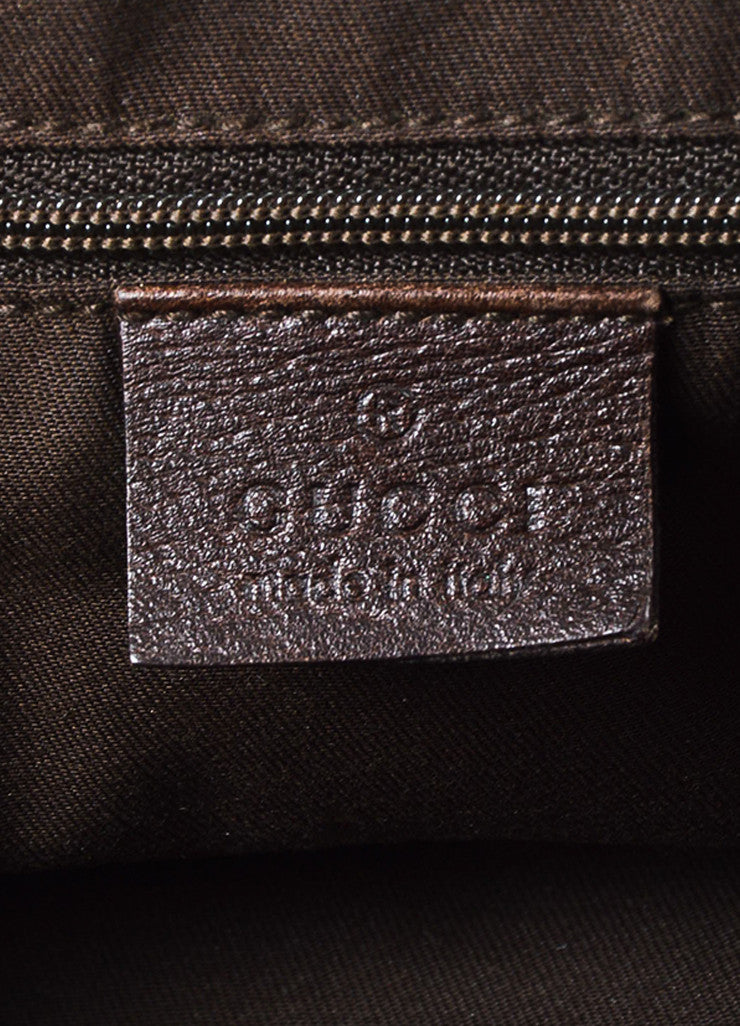 "Gucci Beige and Brown Canvas Leather Trim Medium ""Abbey"" Tote Bag Brand"