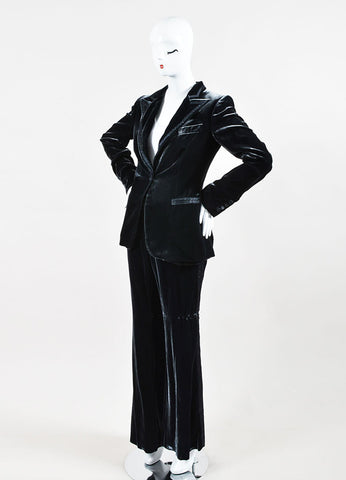 Gucci Grey Velvet and Satin Trim Wide Leg Peak Lapel Tuxedo Pantsuit Sideview