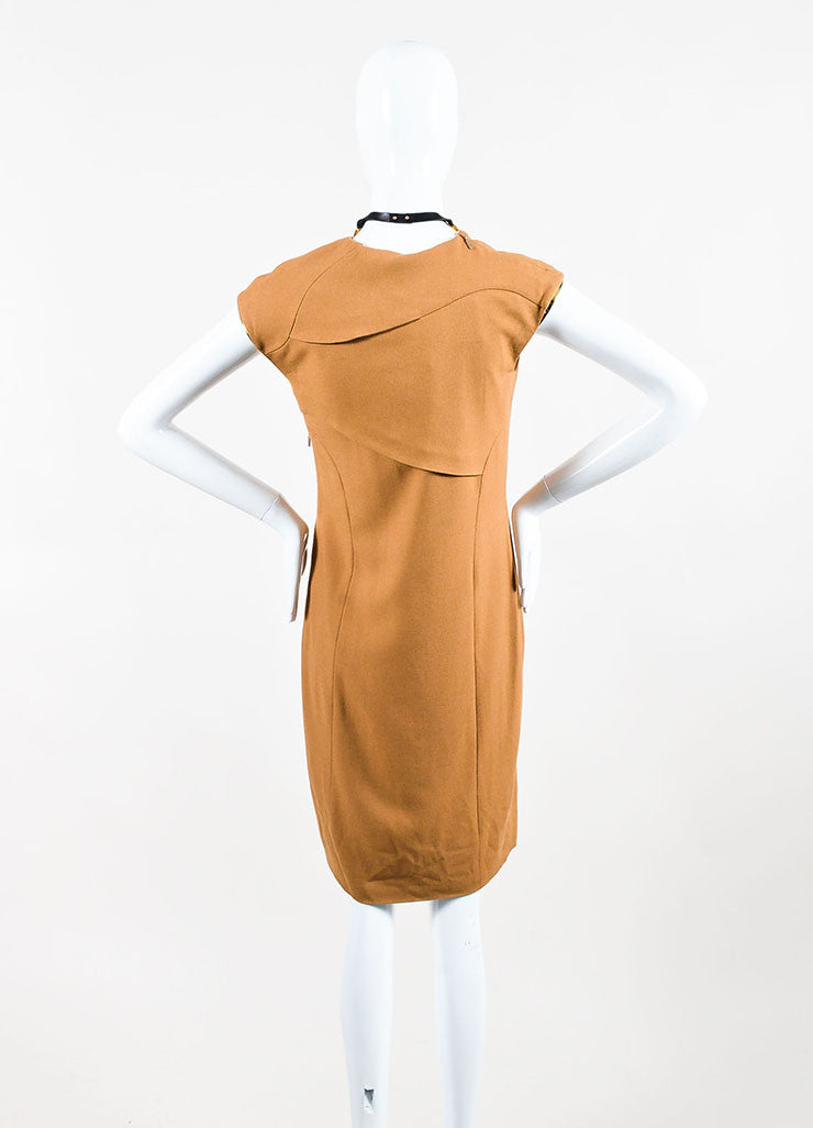 Gucci Tan and Gold Toned Metal Plate Cap Sleeve Necklace Dress Backview