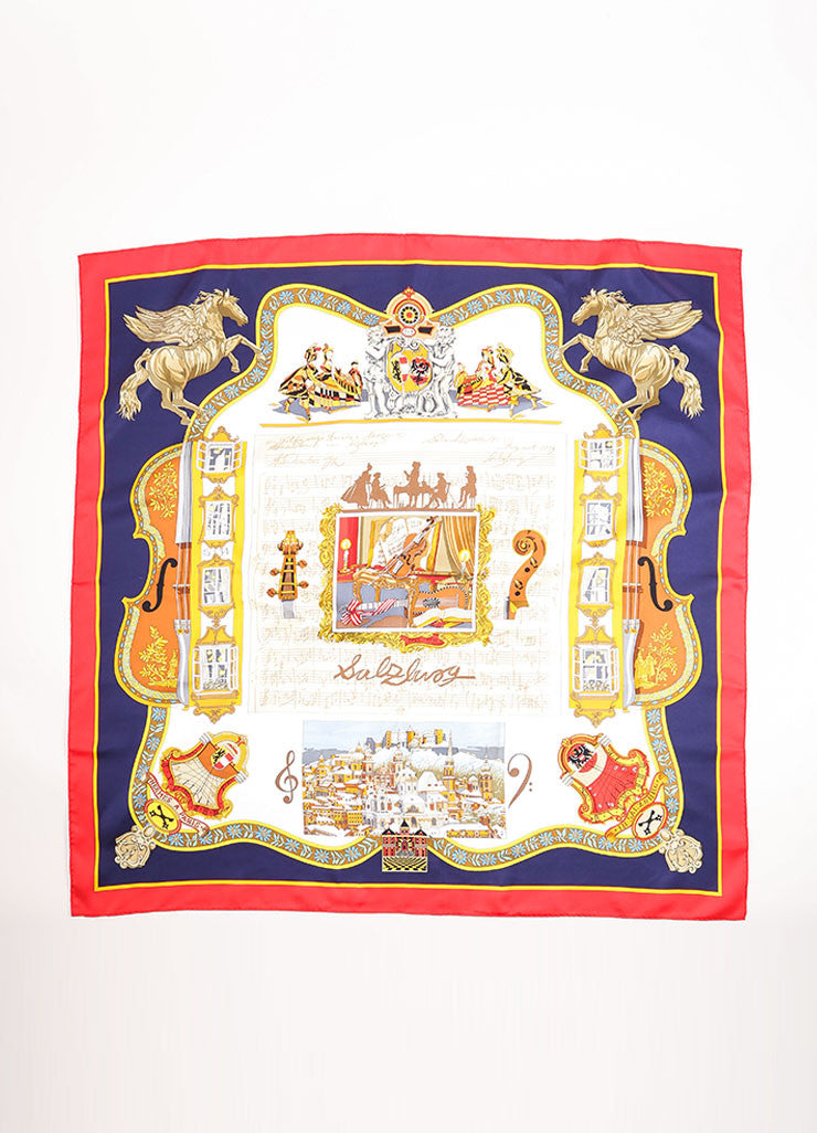 "Hermes Blue, Red, and Gold Silk Musical Theme ""Salzburg"" Scarf Frontview"
