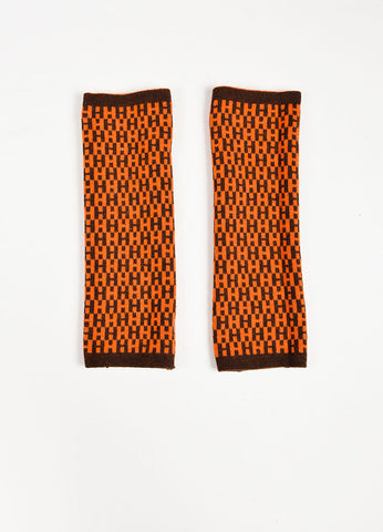 Hermes Brown and Orange Knit Reversible 'H' Logo Fingerless Arm Warmers Backview