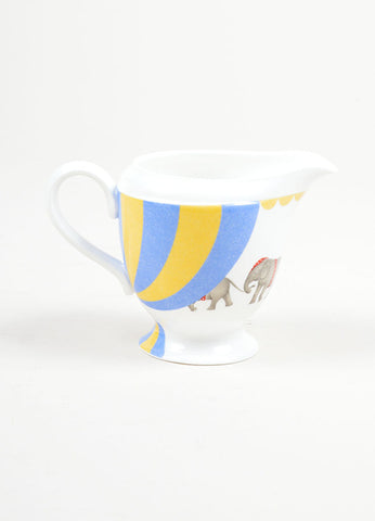 "White, Yellow and Blue Hermes Porcelain ""Les Elephants"" Circus Print Creamer Front"