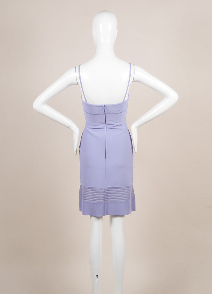 Herve Leger Purple Spaghetti Strap Bodyon Dress Backview