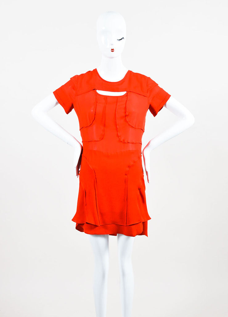 Isabel Marant Red Silk Tiered Cut Out Short Sleeve Dress Frontview