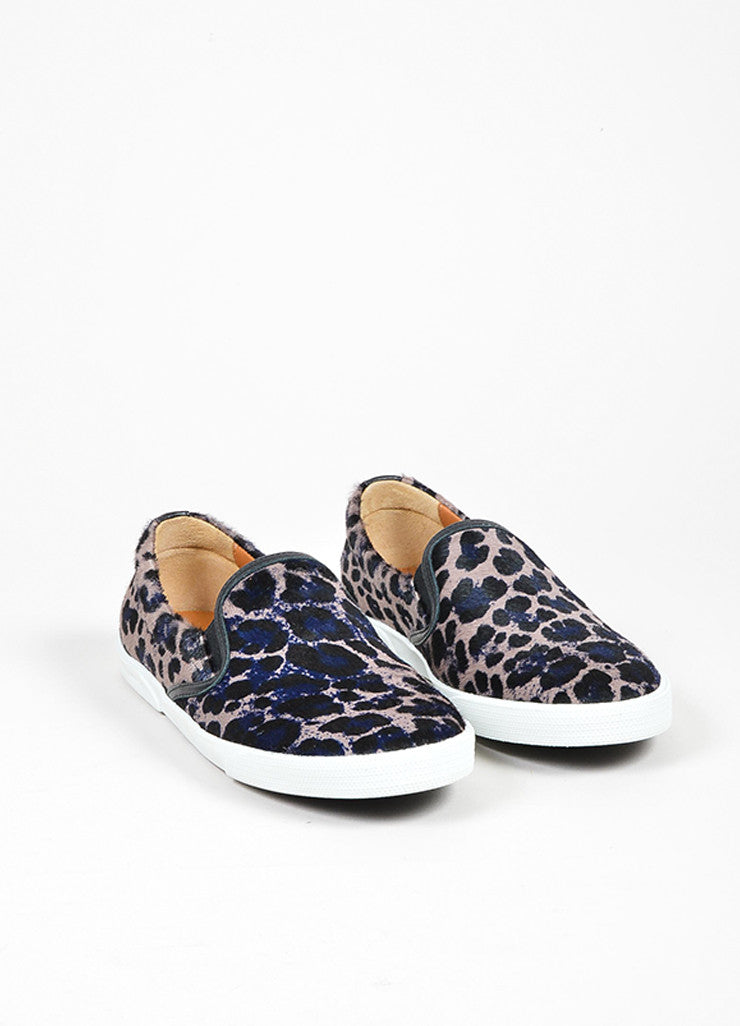 "Grey, Black, and Navy Jimmy Choo Pony Hair Leopard ""Demi"" Sneakers Frontview"