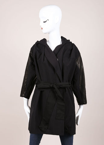 Karolina Zmarlak New With Tags Black Reversible Leather Trim Hooded Jacket Frontview