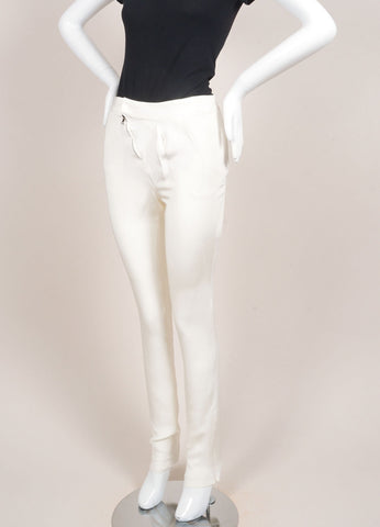 Karolina Zmarlak New With Tags Cream 4-Ply Silk Asymmetric Pleated and Zip Trousers Sideview