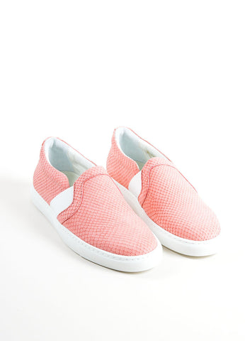 "Lanvin Rose Pink Leather Reptile Embossed ""Nora"" Slip On Sneakers Frontview"