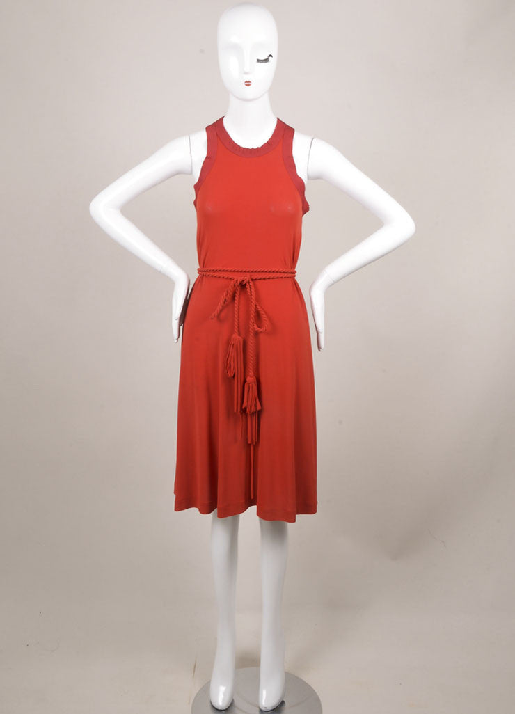Lanvin Red Jersey Racer Back Rope Belted Trapeze Dress Frontview