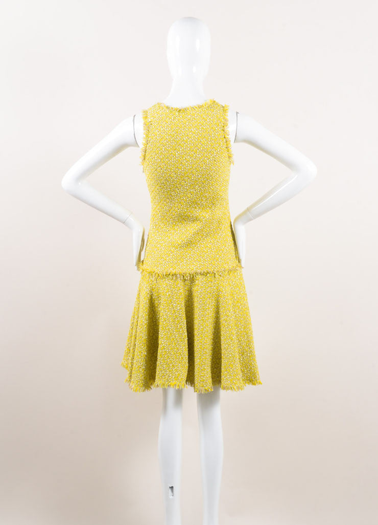 Lanvin Yellow and Green Woven Knit Frayed Trim Pleated Sleeveless Dress Backview
