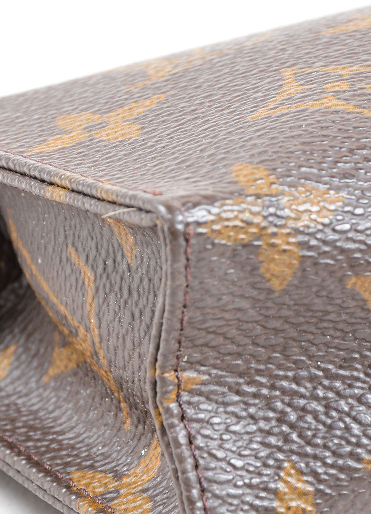 "Louis Vuitton Brown Coated Canvas Monogram ""Toiletry Pouch 15"" Bag Detail"