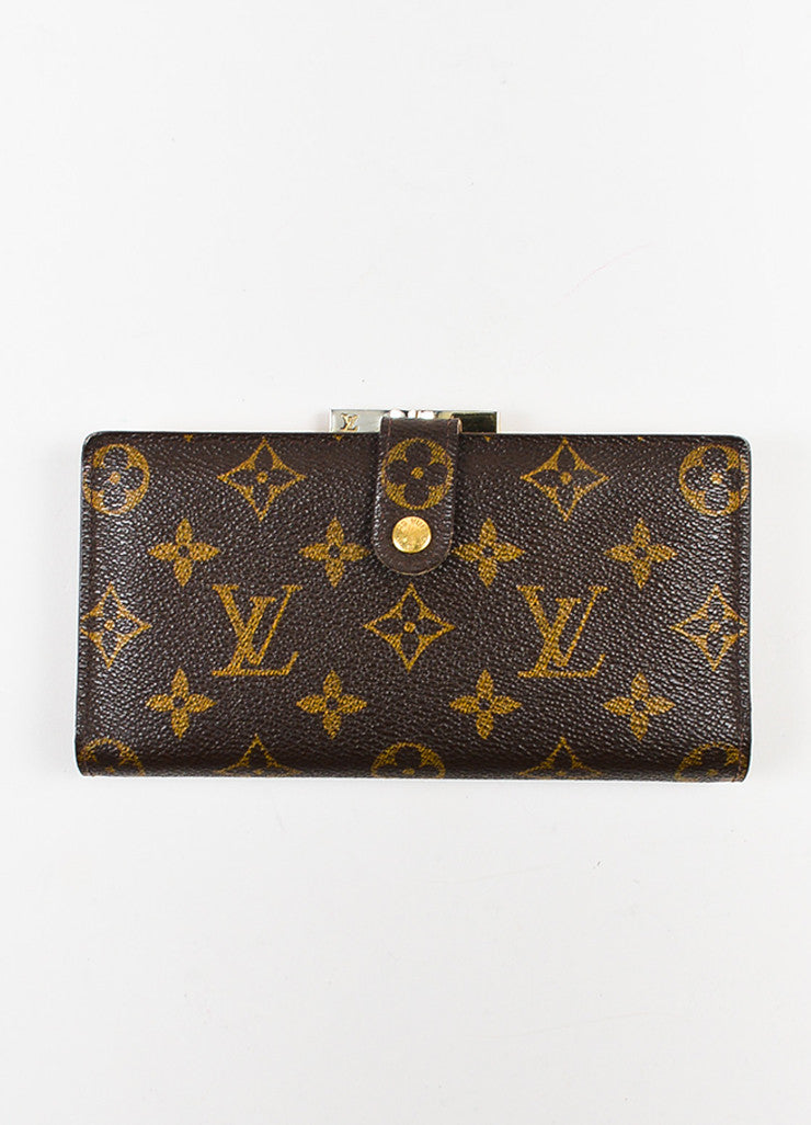 "Louis Vuitton Brown Monogram Canvas ""Long French Purse Wallet"" Frontview"