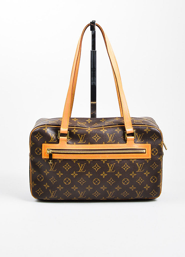"Brown and Tan Louis Vuitton Coated Canvas Monogram ""Cite GM"" Shoulder Bag Frontview"